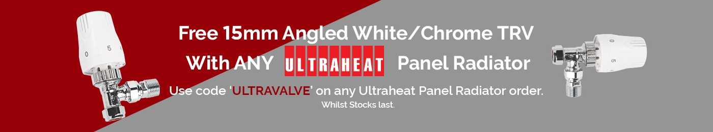 Giveaway: FREE 15mm Angled White/Chrome TRV with any Ultraheat Panel Radiator