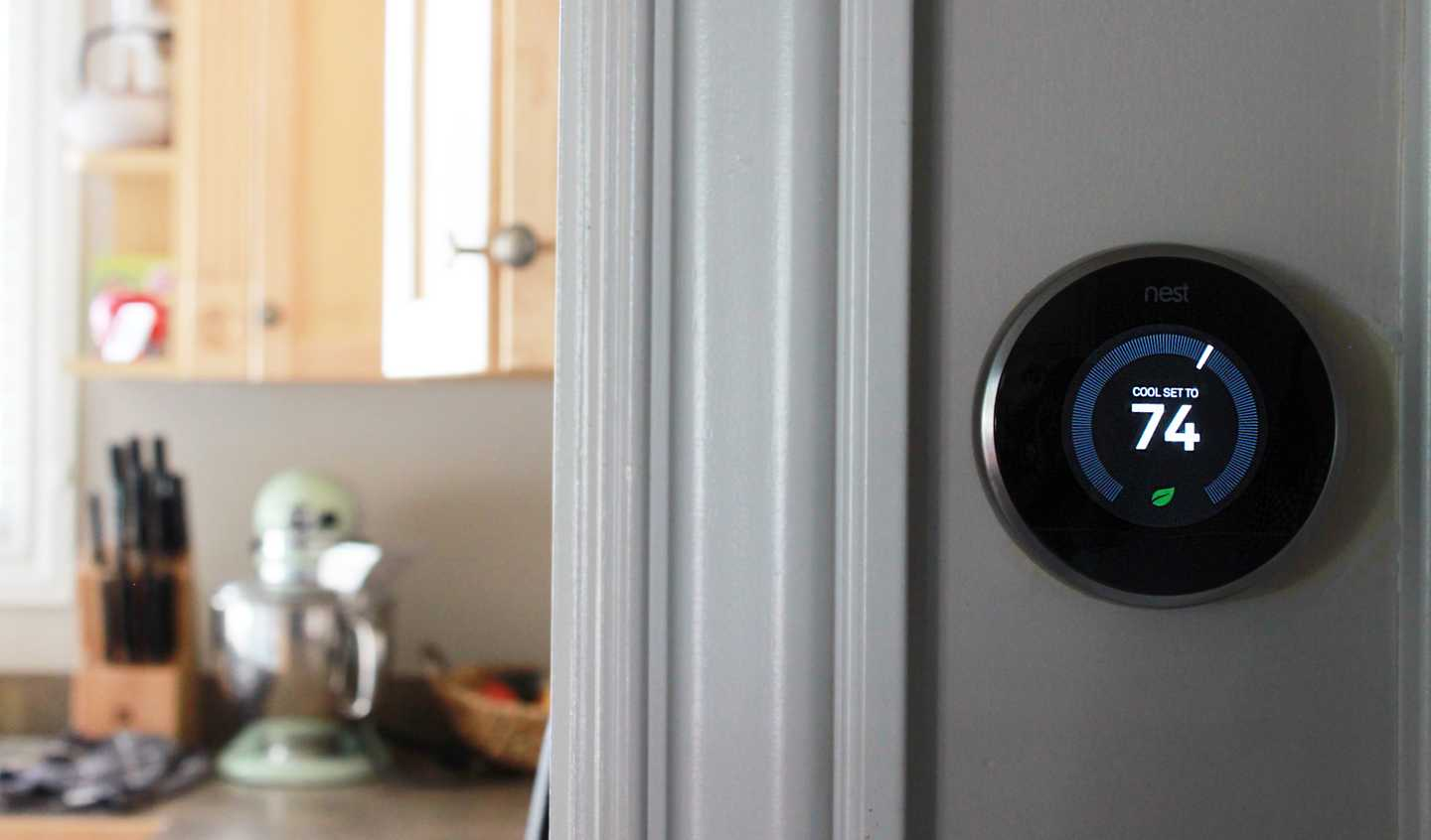 Nest thermostat in home